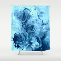 roses Shower Curtains featuring roses underwater by clemm
