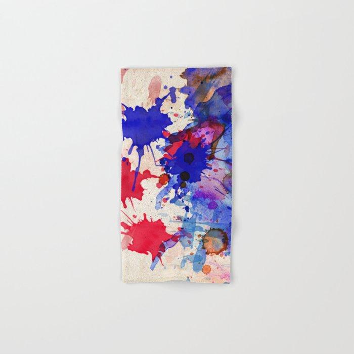 Blue & Red Color Splash Hand & Bath Towel