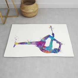 Rhythmic Gymnastics Girl Clubs Gymnastic Clubs Gift Colorful Watercolor Art Flexible Girls Rug