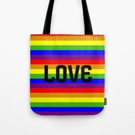 Gay flag with the colors of the rainbow with the word love. Tote Bag