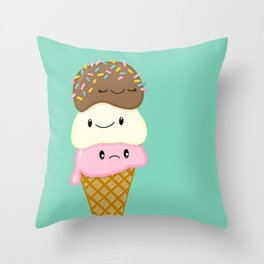 Cute Ice Creams Throw Pillow