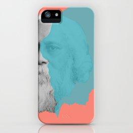 Rabindranath Tagore portrait - orange blue iPhone Case