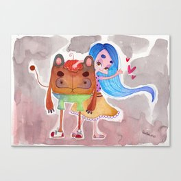 Little girl and a monster Canvas Print