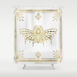 Death's Head Hawkmoth – Gold Palette Shower Curtain