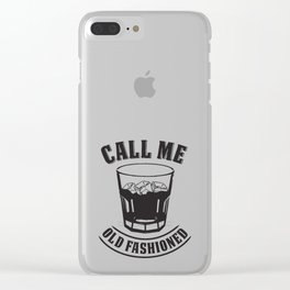 "Whiskey Drink / Whisky On The Rocks Design ""Call Me Old Fashioned"" For Bourbon And Whiskey Drinkers Clear iPhone Case"