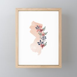 New Jersey Watercolor Floral State Framed Mini Art Print