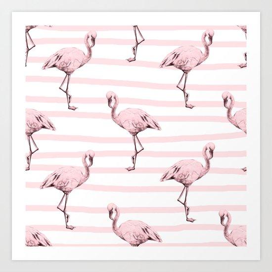 Flamingos on Drawn Stripes in Pink Flamingo Art Print