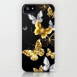 Gold and White Butterflies iPhone Case