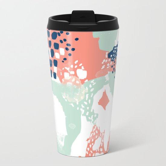 Kayl - abstract painting minimal coral mint navy color palette boho hipster decor nursery Metal Travel Mug