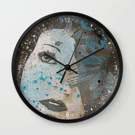 Lack Of Interest: (graffiti dark lady with daisies) Wall Clock