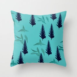 Trees & Leaves On Blue Background Throw Pillow