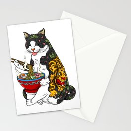 Cat eating Chinese Noodles with Tiger Tattoo Stationery Cards