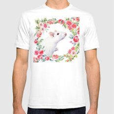 White Rat with Flowers Watercolor Floral Pattern Animal MEDIUM Mens Fitted Tee White