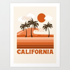 California - retro 70s 1970's sun surfing beach throwback minimal design Art Print