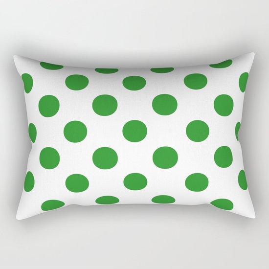 Polka Dots (Forest Green/White) Rectangular Pillow