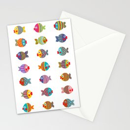 Fishes colorful fun graphic pattern design Stationery Cards