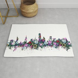 new york skyline floral 2 Rug
