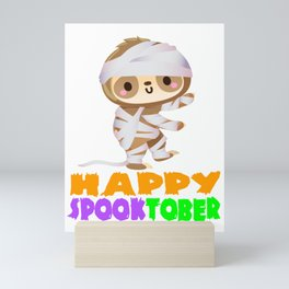Funny Mummy Sloth Halloween Scary Happy Spooktober Mini Art Print