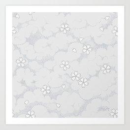 Kumori Nochi Sakura: Gray Art Print