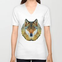 polygon V-neck T-shirts featuring polygon wolf by Ancello