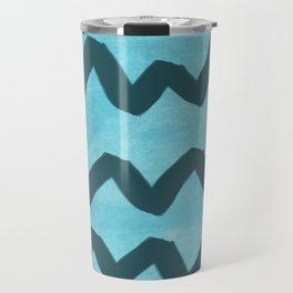 Blue Chevron Travel Mug