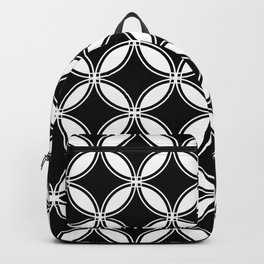 Large Black Geometric Circles Interlocking on White Background Backpack