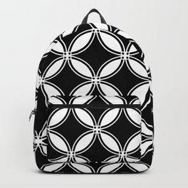 Large Black Geometric Circles Interlocking on White Background Backpack