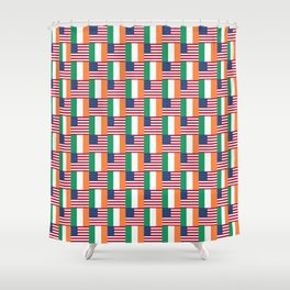 Mix of flag : usa and ireland Shower Curtain