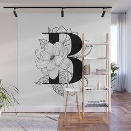 Monogram B with Magnolia Line Art Wall Mural