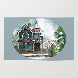 Blue House on a Grey Day Rug