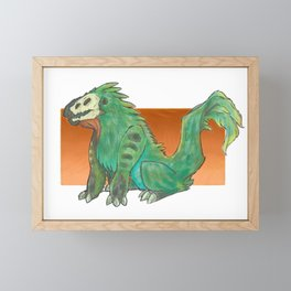 A Feathery Green Monster Framed Mini Art Print