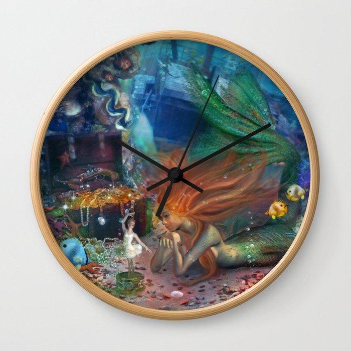 The Mermaid's Treasure Wall Clock