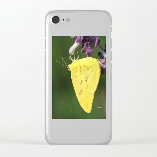 Orange Sulphur Butterfly Clear iPhone Case