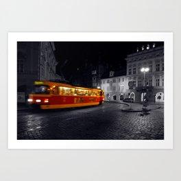 Tram at Night - Colour Composite  Art Print