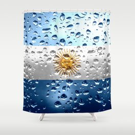 Flag of Argentina - Raindrops Shower Curtain