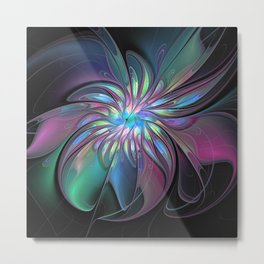 Abstract Fantasy, Colorful Fractals Art Flower Metal Print