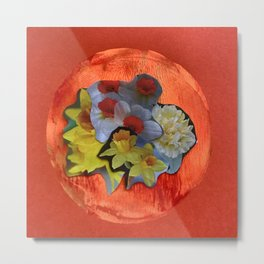 Garden Circle - Orange Metal Print