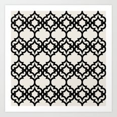Lattice Stars in Black and Ivory Art Print