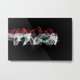 Syria Smoke Flag on Black Background, Syria flag Metal Print