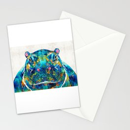 Hippopotamus Art - Happy Hippo - By Sharon Cummings Stationery Cards