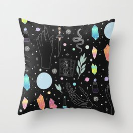 Crystal Witch Starter Kit - Illustration Throw Pillow