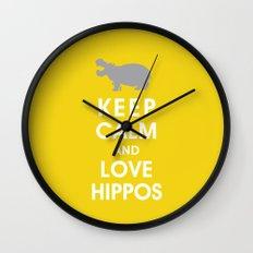 Keep Calm and Love Hippos Wall Clock