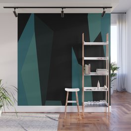 teal and black abstract Wall Mural