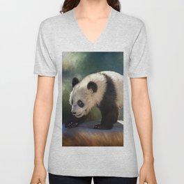 Cute panda bear baby Unisex V-Neck