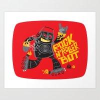 Rock n' Roller Bot Art Print