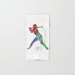 Baseball Softball Player Sports Art Print Watercolor Print Girl's softball Hand & Bath Towel