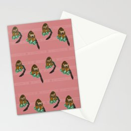 Surfing Squirrel Monkeys on Jungle Leaves Pattern Stationery Cards