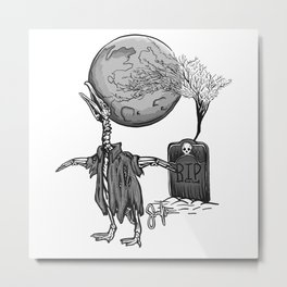 Penguin Zombie -Black and white Metal Print