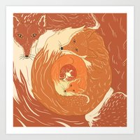 foxes Art Prints featuring Foxes by Beesants