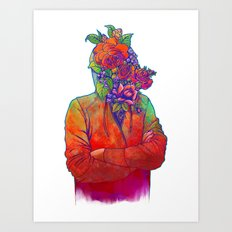 FLOWERS HEAD Art Print